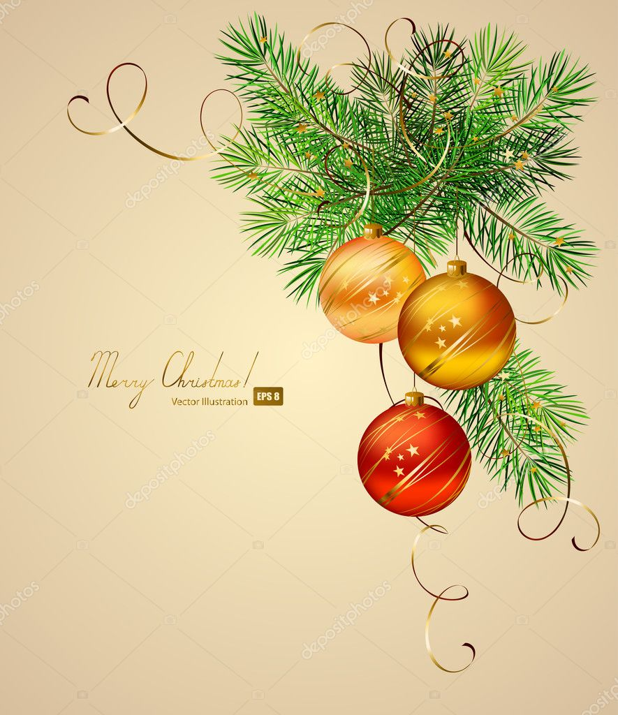 Light Christmas background with three evening balls — Vektorgrafik #11954500