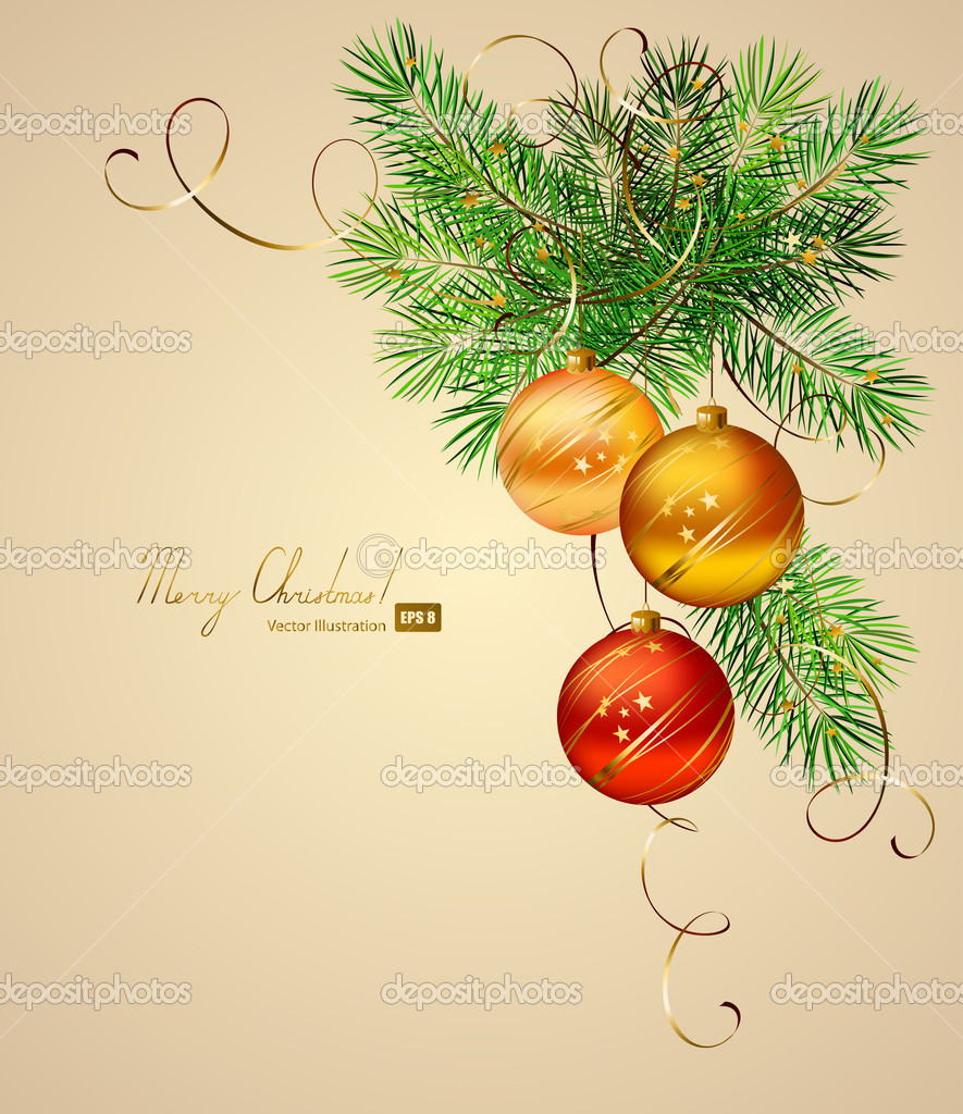 Light Christmas background with three evening balls — Image vectorielle #11954500