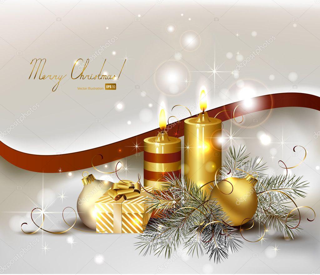 Fondo de navidad con velas y adorno de navidad vector de - Velas de adorno ...