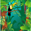 Toucan in tropical forest — ストックベクタ