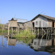 Stock Photo: Traditional wooden stilt houses, Inle lake, Shstate, Myanmar, Southeast Asia