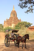Horse-cart for tourists, Bagan Archaeological Zone, Mandalay region, Myanmar, Southeast Asia — Stock Photo