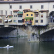 Stock Photo: Ponte Vecchio Bridge with kayaker, Florence, Italy
