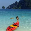 Young woman in bikini with kayak, Phi Phi Don island, Thailand — Stock Photo