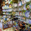 Stalls with colorful pottery, Grand Bazaar, Istanbul, Turkey - Stock Photo