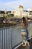 Young tourist admiring view of Kampong Ayer and Sultan Omar Ali Saifudding Mosque, Bandar Seri Begawan, Brunei, Southeast Asia — Stock Photo