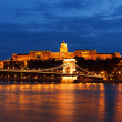 The Royal palace and the Chain bridge in sunset, Budapest — Stock Photo