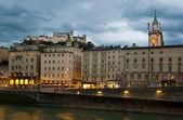Salzburg city center at sunset — Stock Photo