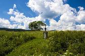 Cross in a green field — Photo