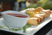 Egg Rolls with Dipping Sauce — Stock Photo