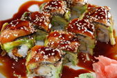Sushi - Shrimp Tempura roll with Unagi and Avocado — Stock Photo