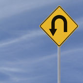 180 度大转弯道路标志 — 图库照片