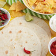 Mexican tortillas with nachos and salsa — Stock Photo