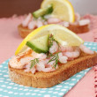 Prawn or shrimp canape — Stock Photo