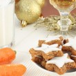 Cookies, milk and carrots for Santa and Rudolf - Stock Photo