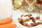 Cookies, milk and carrots for Santa and Rudolf — Stock Photo