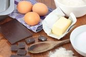 Baking ingredients for chocolate brownies — Stock Photo