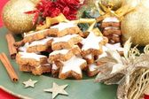 Christmas Cinnamon Cookies or Biscuits — Stock Photo
