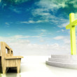 Church space with golden cross and wooden bench with blue sky — Stock Photo