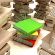 Red yellow green books between several columns of another books — Stock Photo