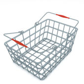 Light grey metal chome modern designed shoping basket render — Stock Photo