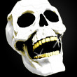 White skull with golden teeth on black — Stock Photo