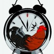 Cock in alarm clock — Stock Vector