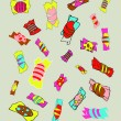 Vector de stock : Lot of colorful bonbons