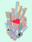 Herzen der stadt — Stockvektor