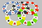 Five colorful types of poker chips olympic circles isolated on poker table background — Stock Photo