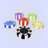 Five colorful types of poker chips columns isolated on light blue background — Stock Photo