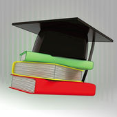Three books in column with tdaditional black graduation cap — Stock Photo