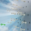Flying metallic keys with green one in sky — Stock Photo