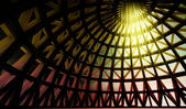 Straight beam of holy light in abstract architectural modern dome — Stock Photo