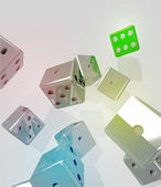 Group of rolling metallic dices with winner green one — Stock Photo