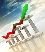 Graph on greek columns diagram with arrow increasing up — Stock Photo