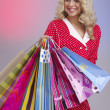 Closeup attractive happy girl out shopping — Stock Photo