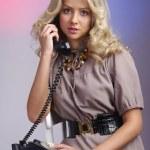Retro housewife telephone woman — Stock Photo