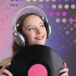 Girl with vinyl disc closeup — Stock Photo #11826740