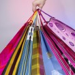 Royalty-Free Stock Photo: Female hand holding colorful shopping bags