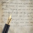 Gold Pen with Letter and Writing — Stok fotoğraf