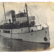Old postcard wth sailboat — Stock Photo