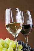 Glasses of red and white vine — Stock Photo