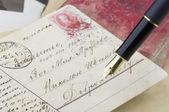 Cartolina retrò di wth penna d'oro — Foto Stock