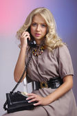 Retro housewife telephone woman — Stock Photo