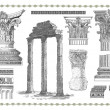 Old engraving with roman column — Stock Photo