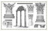 Velha gravura com coluna romana — Foto Stock