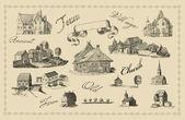 Old town set illustration — Stock Photo