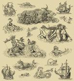 Stary ilustracja potwory — Zdjęcie stockowe