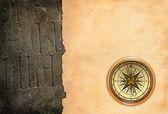 Retro compass with paper — Stock Photo